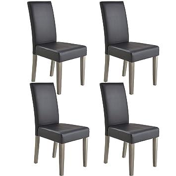 Miroytengo Pack 4 sillas Comedor salón Poliuretano Color Gris y ...