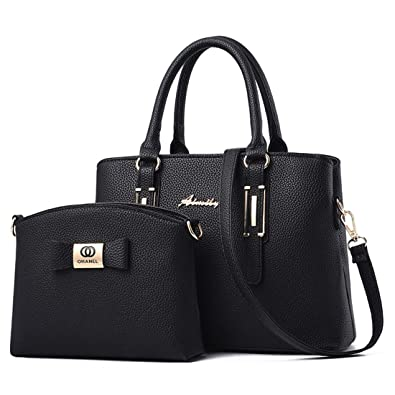 2e0cc98e8a Dunland Handbags Leather Shoulder Top-Handle Bags 2 Pieces Tote Bag A46  Black  Amazon.co.uk  Shoes   Bags