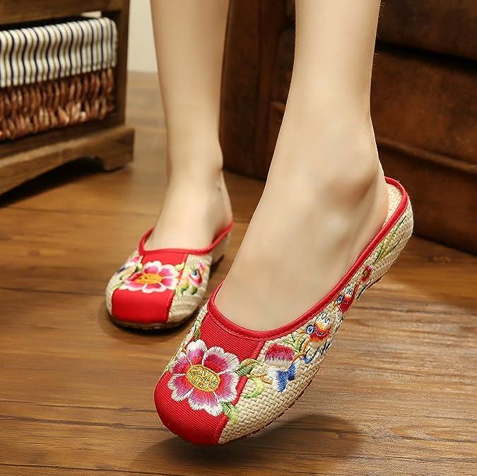KAFEI Frauen bestickte Schuhe Hausschuhe Sehne am Ende des alten Tuch Baotou home niedrig, 39, R