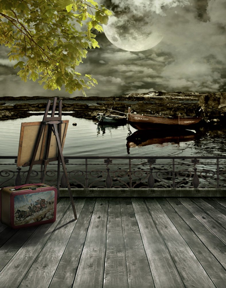 5 x 7ft木製床湖ツリー花Moon写真背景computer-printedビニールBackdrops   B01J3RUI52