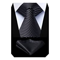 BIYINI Men's Check Tie Handkerchief Wedding Party Necktie & Pocket Square Set