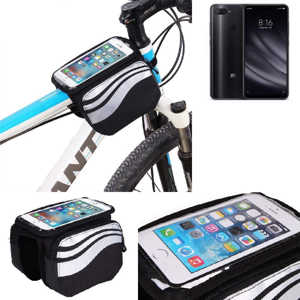 Pour Xiaomi Mi 8 Youth Sac cadre Sacoche de vélo Sac de Guidon Pochette Housse Top Tube Etui Support Cycle Vélo bagagerie Cyclisme étanche Avant Téléphone Bicyclette pour Xiaomi Mi 8 Youth noir-argent imperméable -