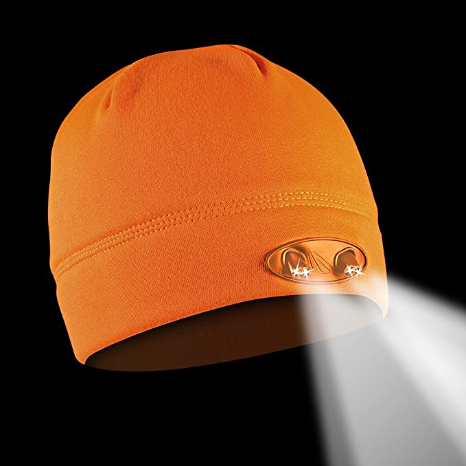 f24c87e9fc3d8 POWERCAP LED Beanie Cap 35 55 Ultra-Bright Hands Free LED Lighted Battery  Powered Headlamp Hat - Blaze Orange Fleece (CUBWB-4546) - Hunting Hats -  Amazon. ...