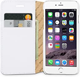 StilGut Talis avec fonction de support, housse portefeuille fine en cuir pour iPhone 6s (4.7 pouces), blanc