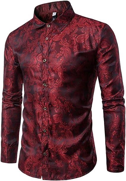 Wofupowga Mens Long Sleeve Print Business Tops Button Down Shirts