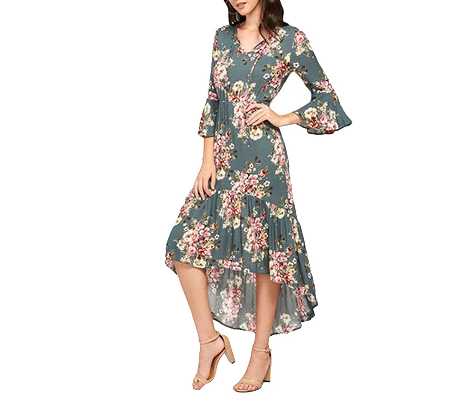 Small-shop dresses Frilled Dip Hem Dress Floral Print V Neck Three Quarter  Length Sleeve High Low Dress at Amazon Women s Clothing store  793df4fc4