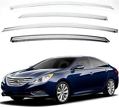 Chrome Sun Visors Vent Shade//Rain Window Guards for 2011 2012 2013 2014 Hyundai Veloster