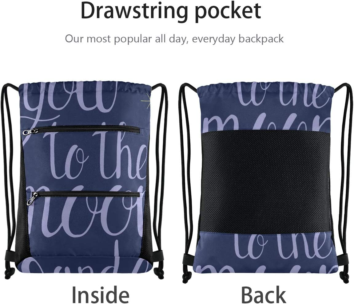 Drawstring Bag Medium I Love You To The Moon And Back Gym Swim Bag Backpacking Lightweight With Zipper Pocket Sports Athletic School Travel Gym Cinch Sack