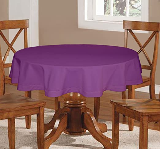 Lushomes Plain Royal Lilac Round Table Cloth - 6 Seater Table Cloths at amazon
