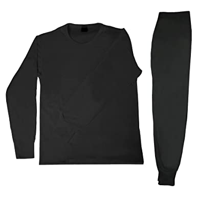Men's 2pc 100% Cotton Thermal Underwear Set Long Johns-XL-Black at ...