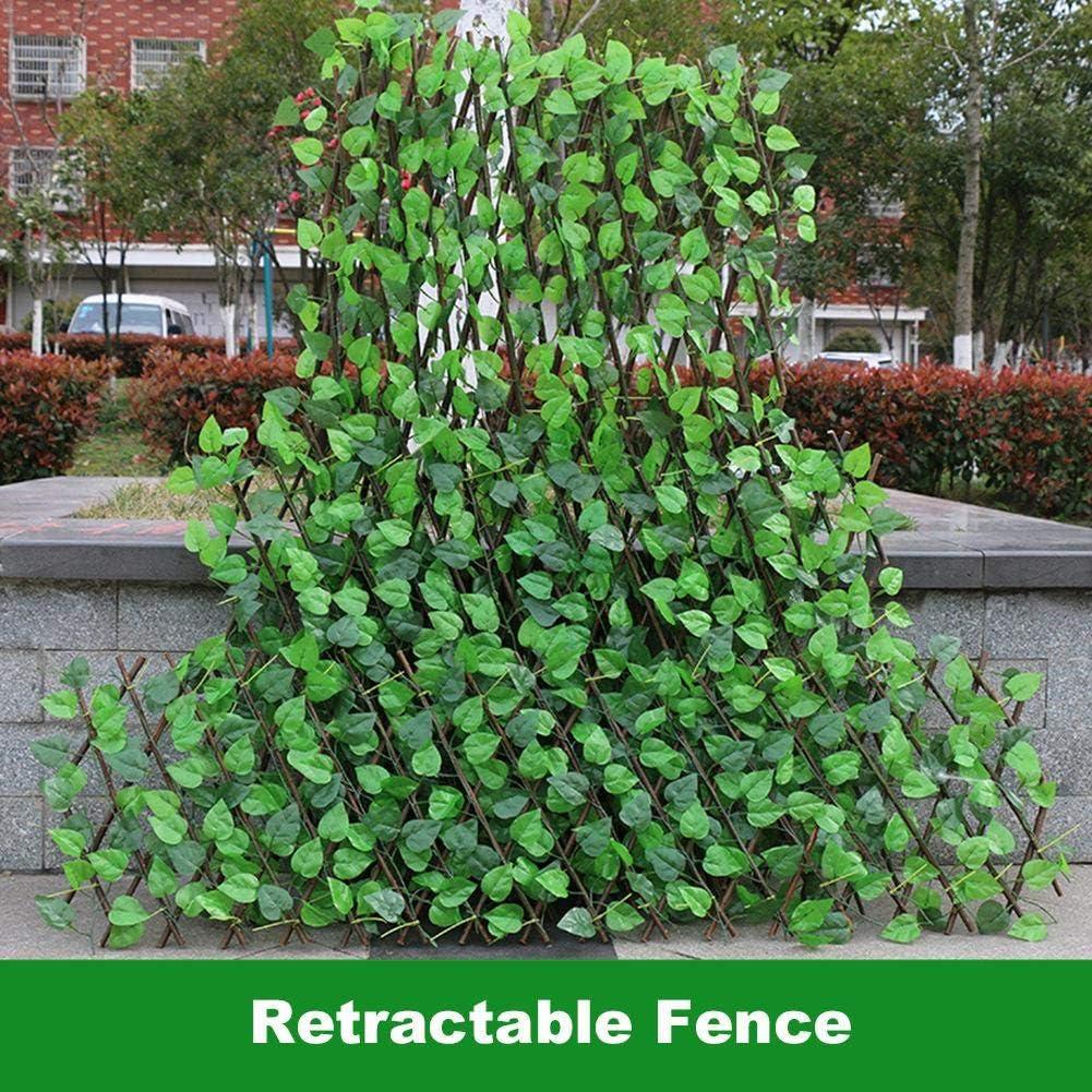 Seto Artificial,Green Fences Cubierta De Valla para Balc/ón O Valla Valla Telesc/ópica De Madera Simulada para Balc/ón Valla Barandilla Valla De Privacidad Planta Decorativa
