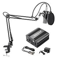 Neewer NW-700 Kit de Microphone à Condensateur - Micro Noir, 48V Alimentation Fantôme Noir, NW-35 Boom Support de Bras à Ciseaux avec Montage Choc et Filtre Pop, XLR Câble Mâle à Femelle pour Enregistrement Home Studio