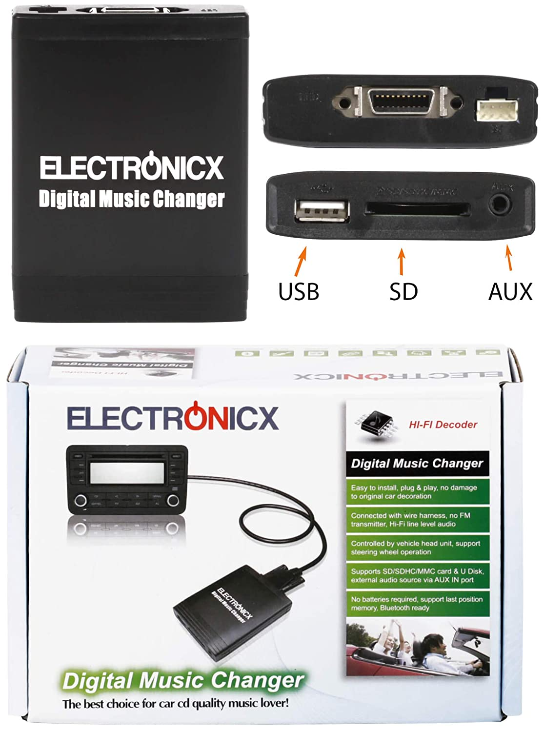 Adaptador de USB,MP3, AUX, SD, CD para Honda 2.4 Accord Civic Jazz FR-V S2000 Fit NSX: Amazon.es: Electrónica