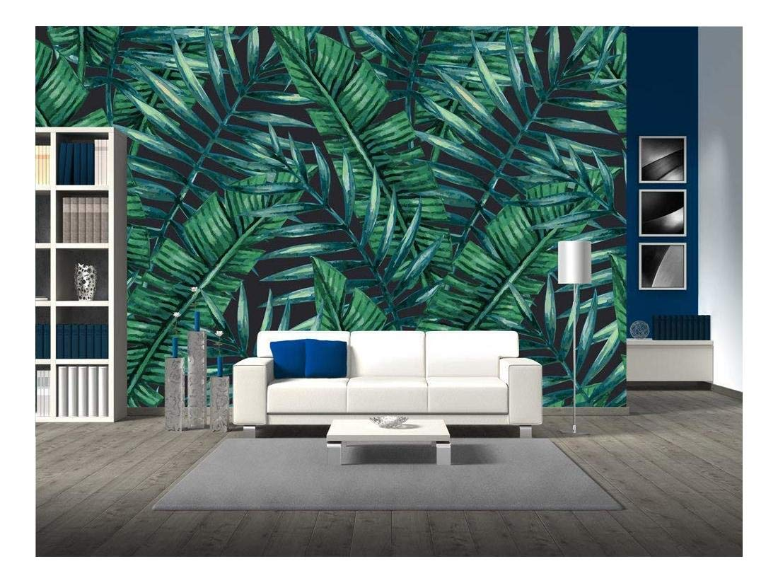 wall26 - Watercolor Tropical Palm Leaves Seamless Pattern. Vector Illustration. - Removable Wall Mural | Self-Adhesive Large Wallpaper - 100x144 inches by wall26