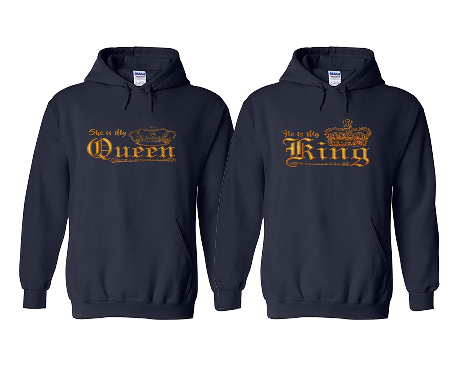 Navy Sweatery King and Queen Hoodies  King Crown Queen Crown Couples Hoodies  His and Hers Couples Gifts