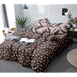 Magnetic Shadow Glace Cotton Queen Size Duvet Cover Quilt Cover Rajai Cover 90x100 inches (Polka Brown)
