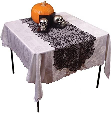 pour Halloween 50 x 203/cm Nappe de f/ête toile daraign/ée style gothique noir