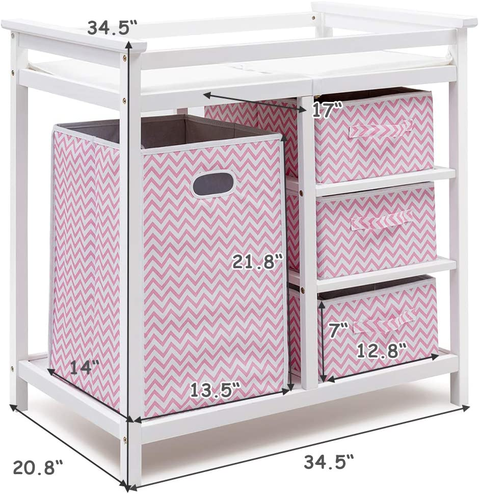 White+Pink Diaper Storage Nursery Station with Hamper and 3 Baskets Infant Diaper Changing Table Organization Costzon Baby Changing Table