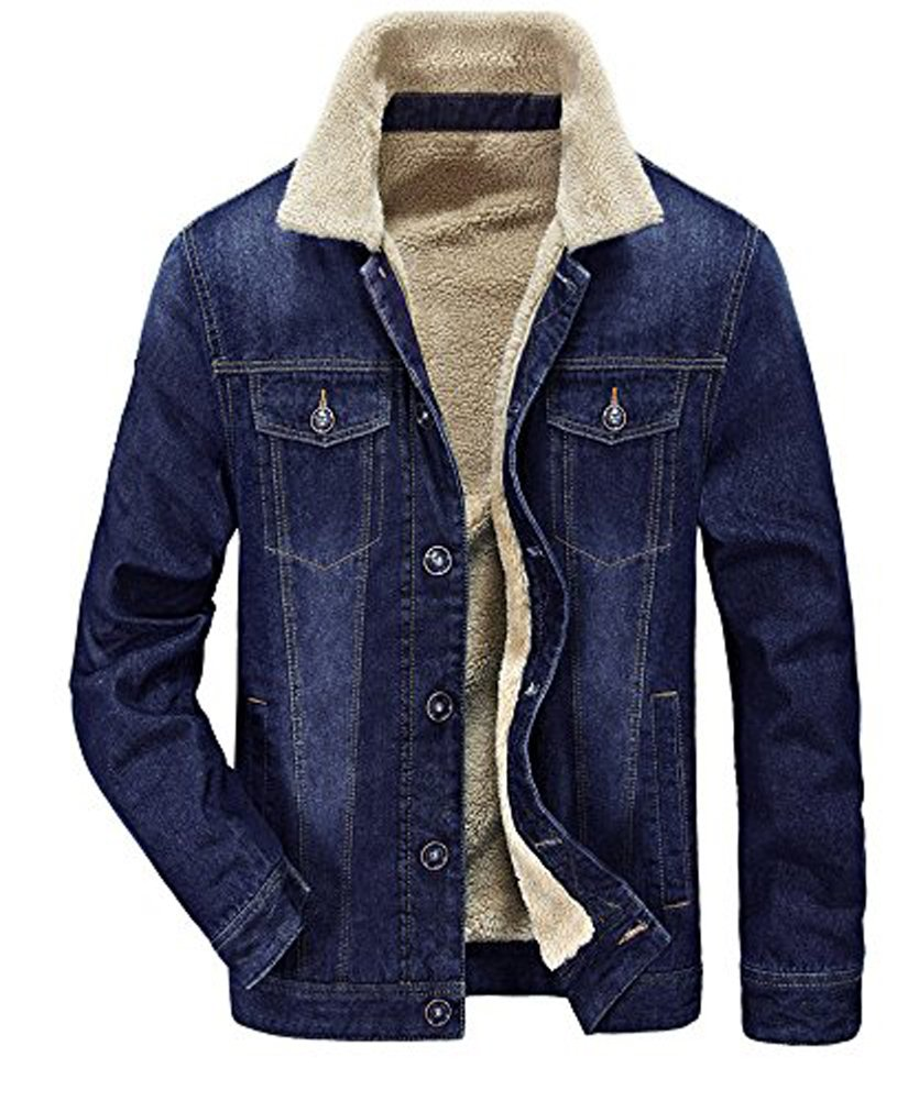 Zicac Men's Fleeced Denim Jacket Winter Fall Warm Cowboy Coat Outerwear Parka (L, Blue) by Zicac