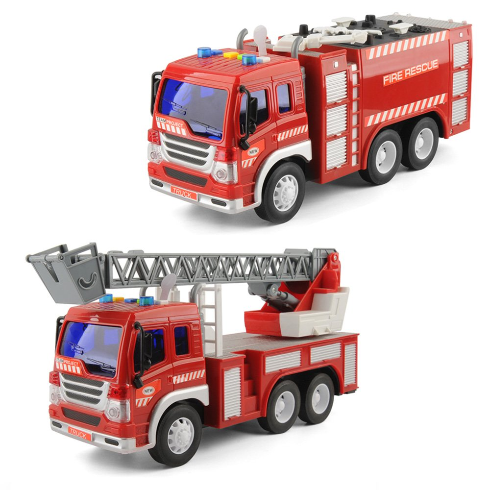 Gizmovine Inertia Toy Fire Engine Truck Vehicles Friction Powered Ladder Truck and Water Pump Hose with LED and Sounds