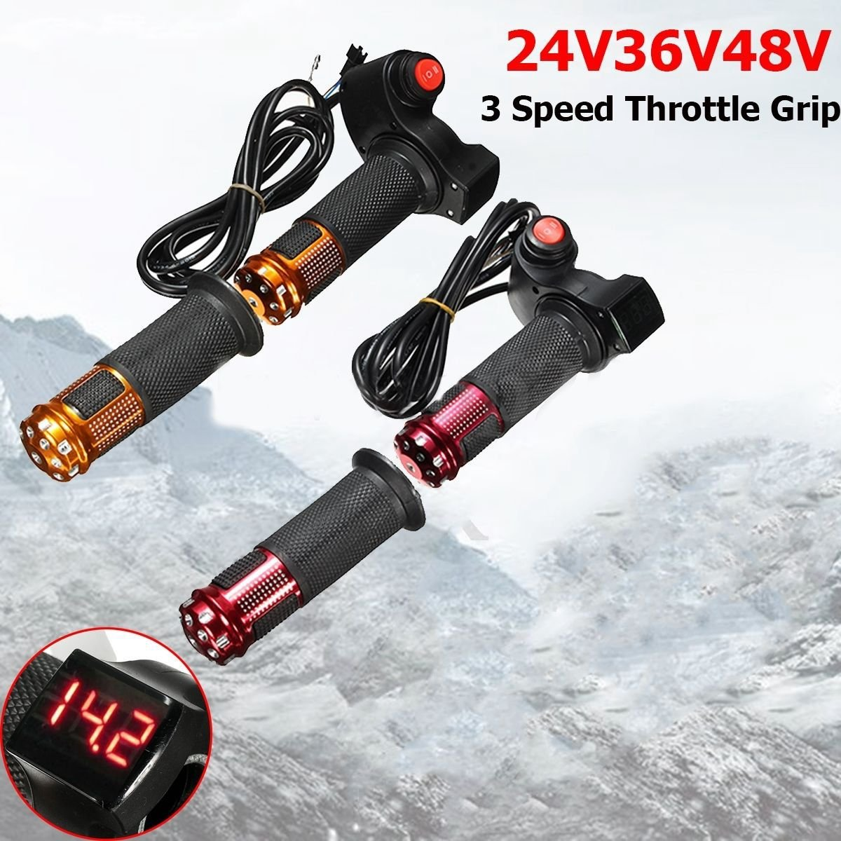 Or ACAMPTAR 24V 36V 48V 3 Vitesses Scooter Electrique Guidon de poignee des gaz Compteur numerique LED