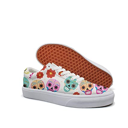 6416e1baf Rainbow Skull Daisy Art Classic Canvas Shoes Skate Sneakers Women's Fashion  Print Cool Durable