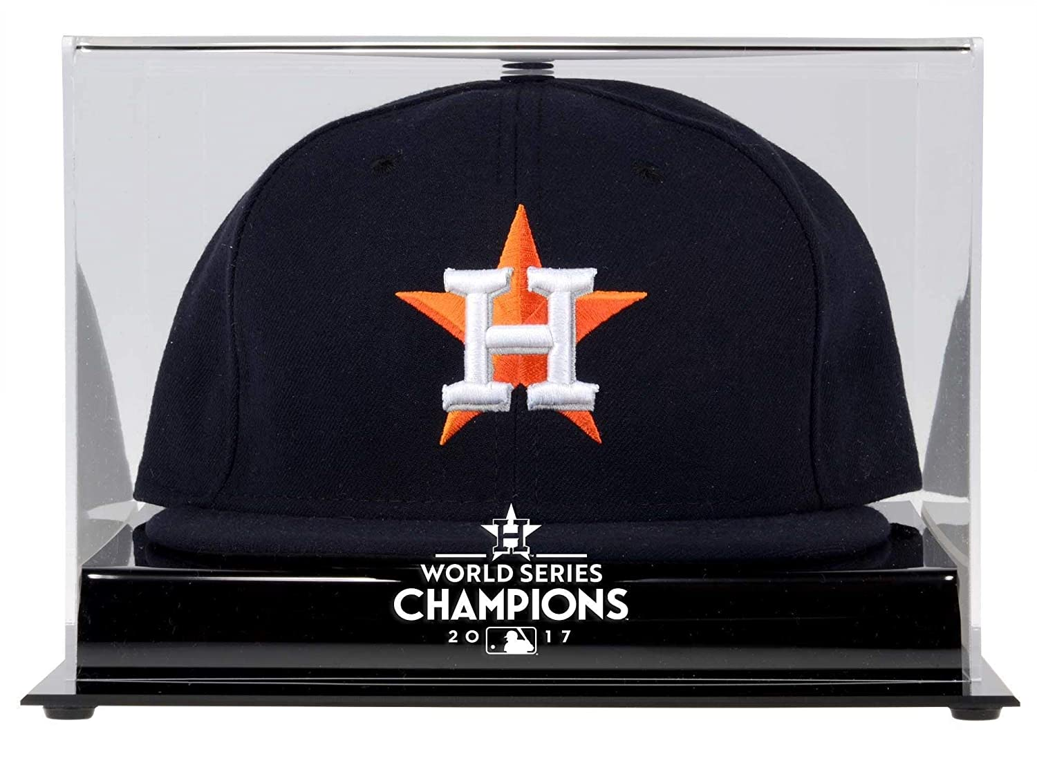 559264c9120 Amazon.com   Sports Memorabilia Houston Astros 2017 MLB World Series  Champions Acrylic Logo Cap Display Case - Baseball Hat Logo Display Cases    Sports   ...