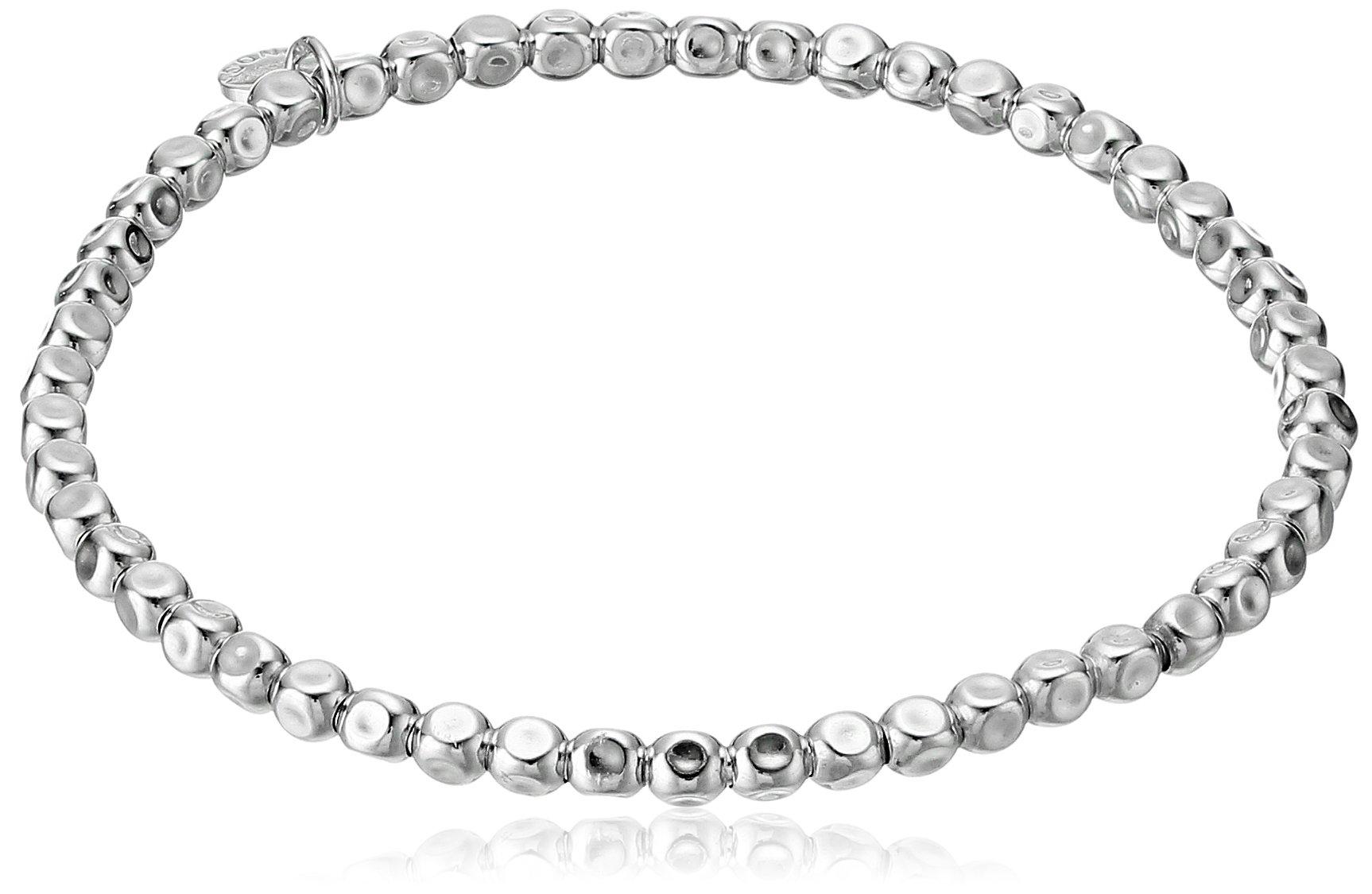 Tateossian Silver Plain SilColor 17.50cm 4mm Cube beads Elasticated Medium Bracelet