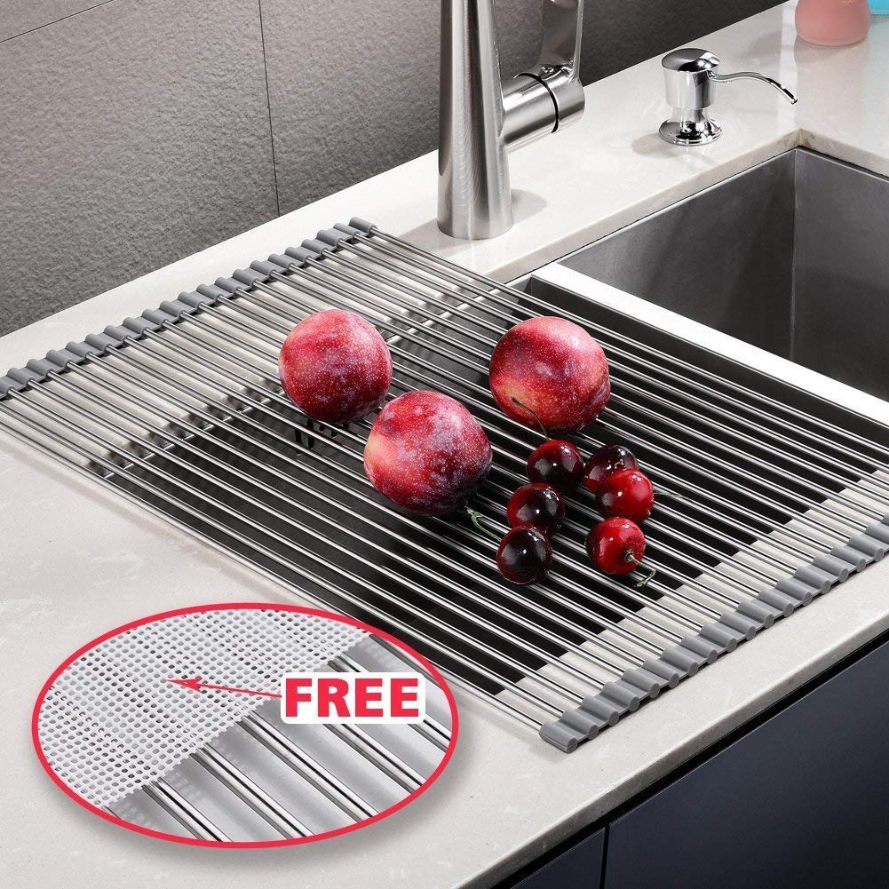 EMBATHER Over the Sink Multipurpose -No Occupying Space Easily Store Heat Resistant Roll Up Dish Drying Rack AND FREE Silicone Mesh ---Fit for Stainless Steel Sink(Size:20.8'''' x 13.4'''',Warm Gray)
