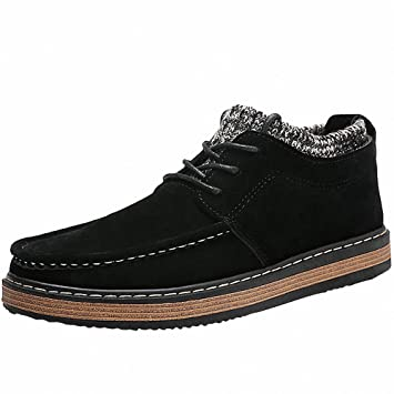 Mens Classic Suede Lace Up Flat Sneaker Loafer Slip on Shoes