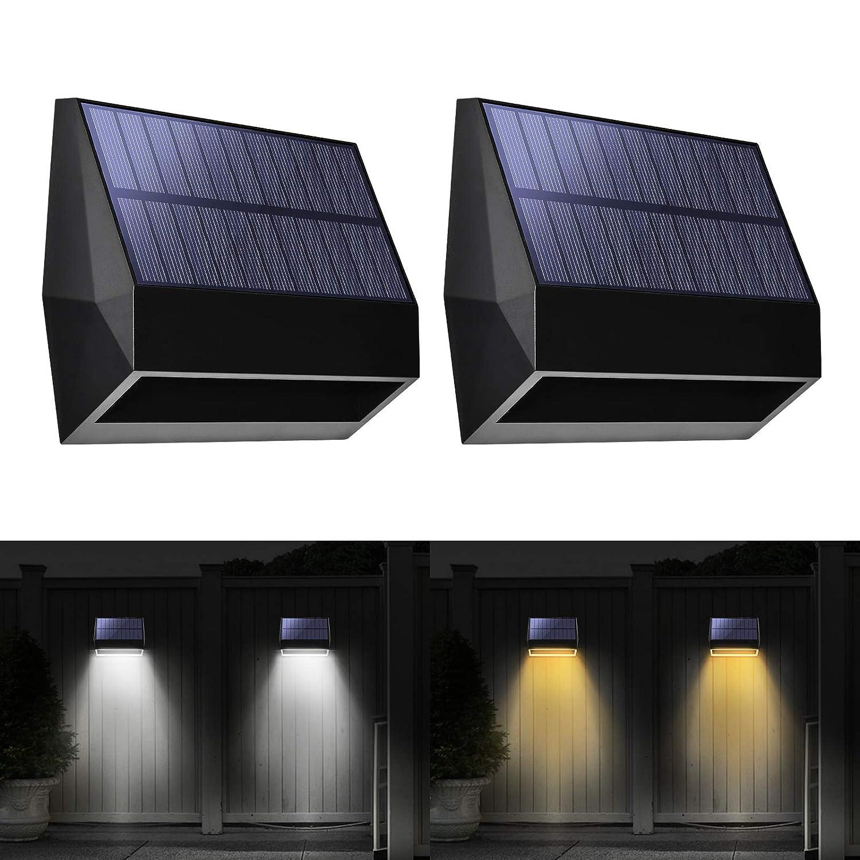 Solar Lights Outdoor Zicbol Warm Light/White Light Changing Deck Lights