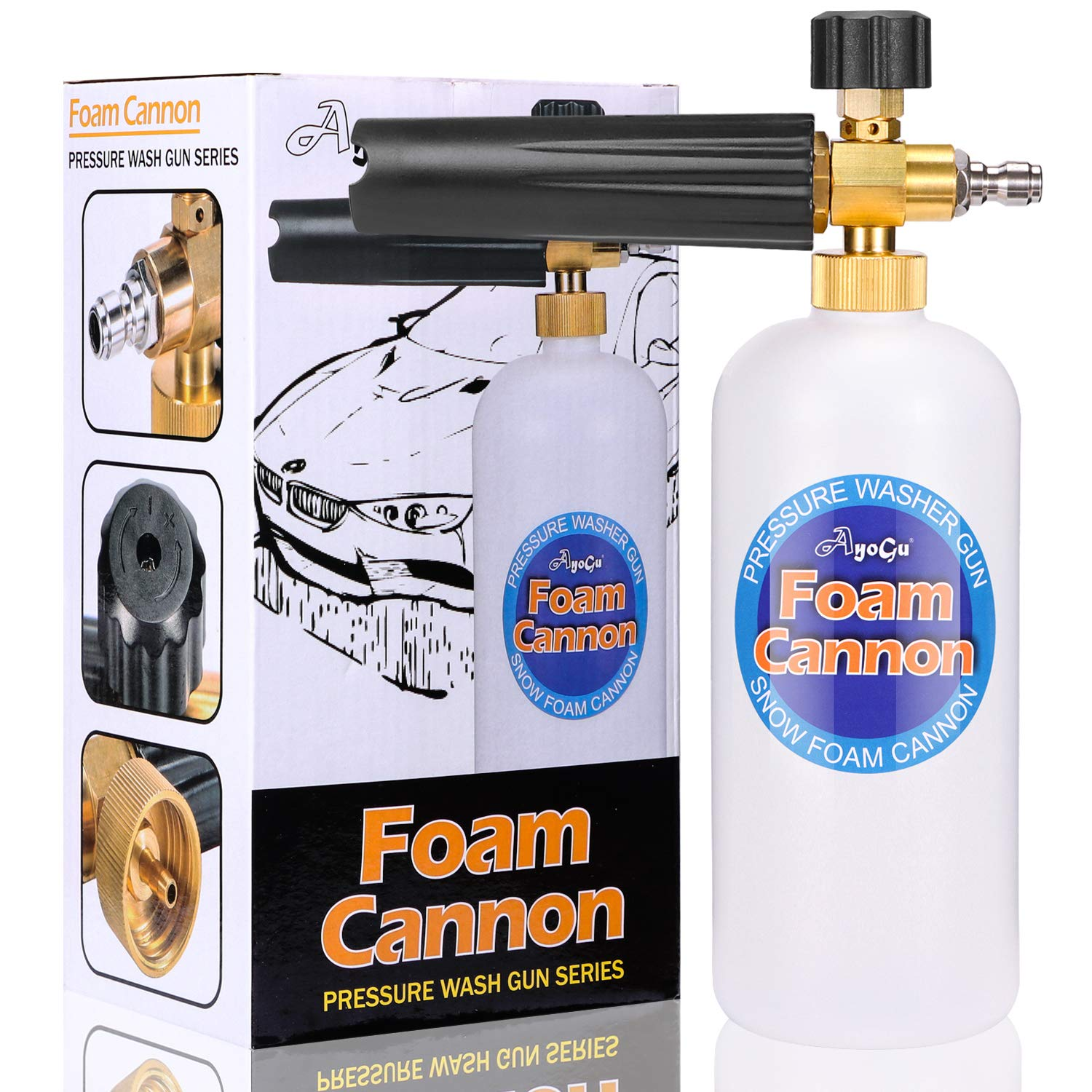 AYOGU1 Foam Cannon 1 Liter Bottle Adjustable Snow Foam Lance with 1/4'' Quick Connector Foam Blaster Improved for Pressure Washer