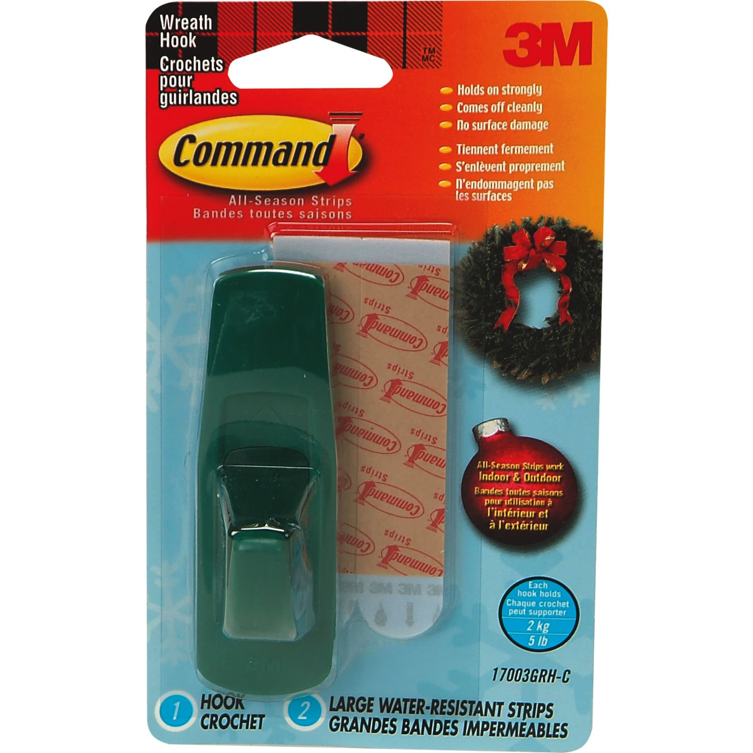 Command Christmas Wreath Hook For Front Door Wreaths With Command Water  Resistant Strips: Amazon.co.uk: Office Products
