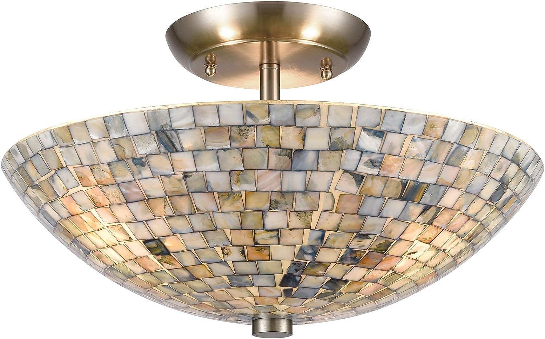 Elk Lighting 10551 3 Capri 3 Light Satin Nickel With Glass Gray Capiz Shells Semi Flush Mount Amazon Com