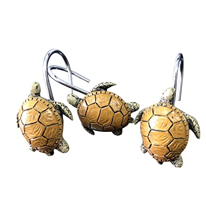 Image Unavailable Not Available For Color Chictie 12 Pieces Cute Turtle Shower Curtain Hooks