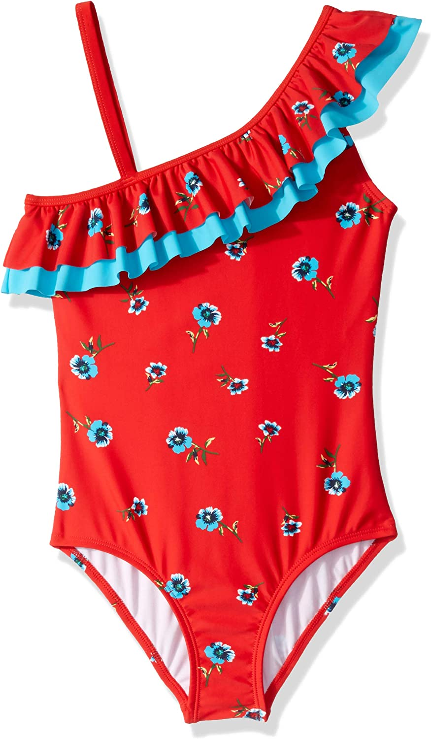 Kanu Surf Girls Morgan Floral Ruffle One-Shoulder 1-Piece Swimsuit
