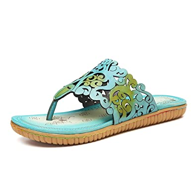 25910defd9620 gracosy Women Summer Low Wedge Flip Flops Bohemia Roman Sandals Post Thong  Slippers Comfy Beach Shoes