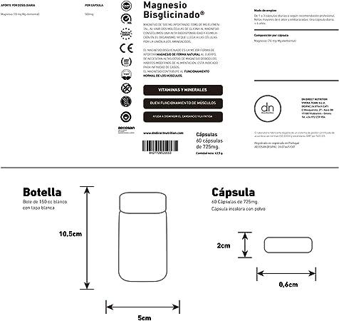 MAGNESIO BISGLICINATO 60 CAPSULAS | DN DIRECT NUTRITION,: Amazon ...