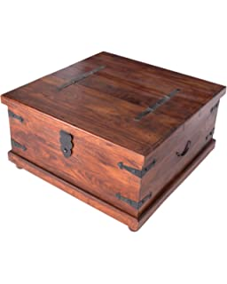 Jali Indian Furniture Square Trunk Coffee Table Living