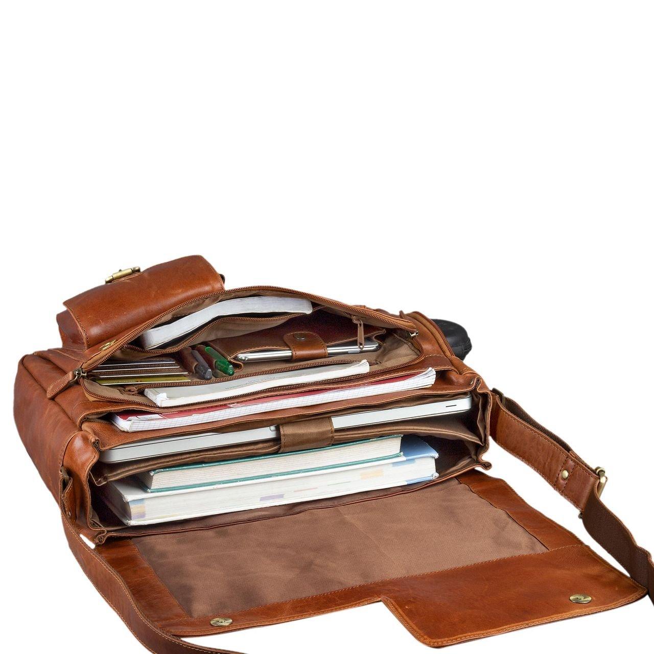 98045b9691416 STILORD  Mika  Ledertasche Vintage braun Herren Damen für Uni Büro Arbeit  große Umhängetasche Aktentasche größeres Bild