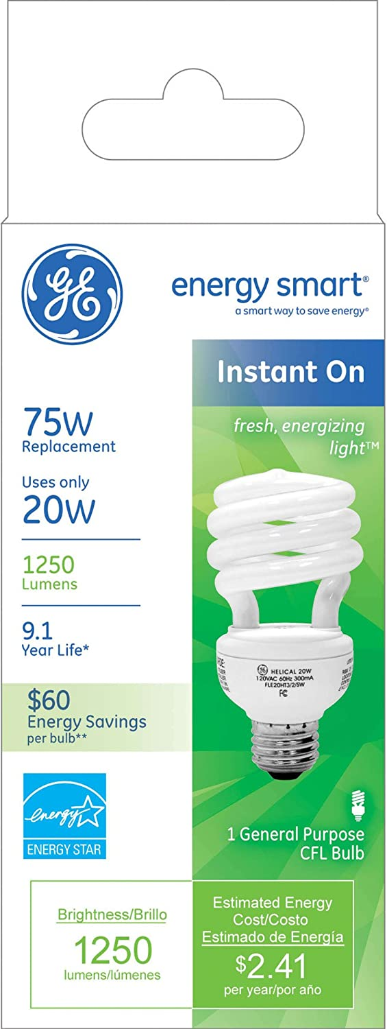 GE Lighting 74200 Energy Smart Spiral CFL 20-Watt 1-Pack 1250-Lumen T3 Spiral Light Bulb with Medium Base 75-watt replacement
