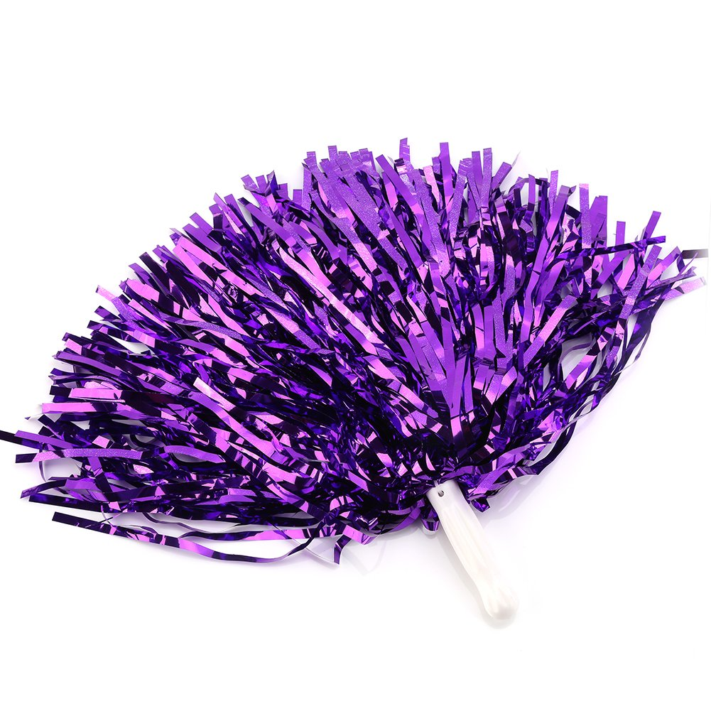 Amazon Com Cheerleading Poms 12 Pcs Pompoms Cheer Costume Accessory For Party Dance Sports Purple Sports Outdoors