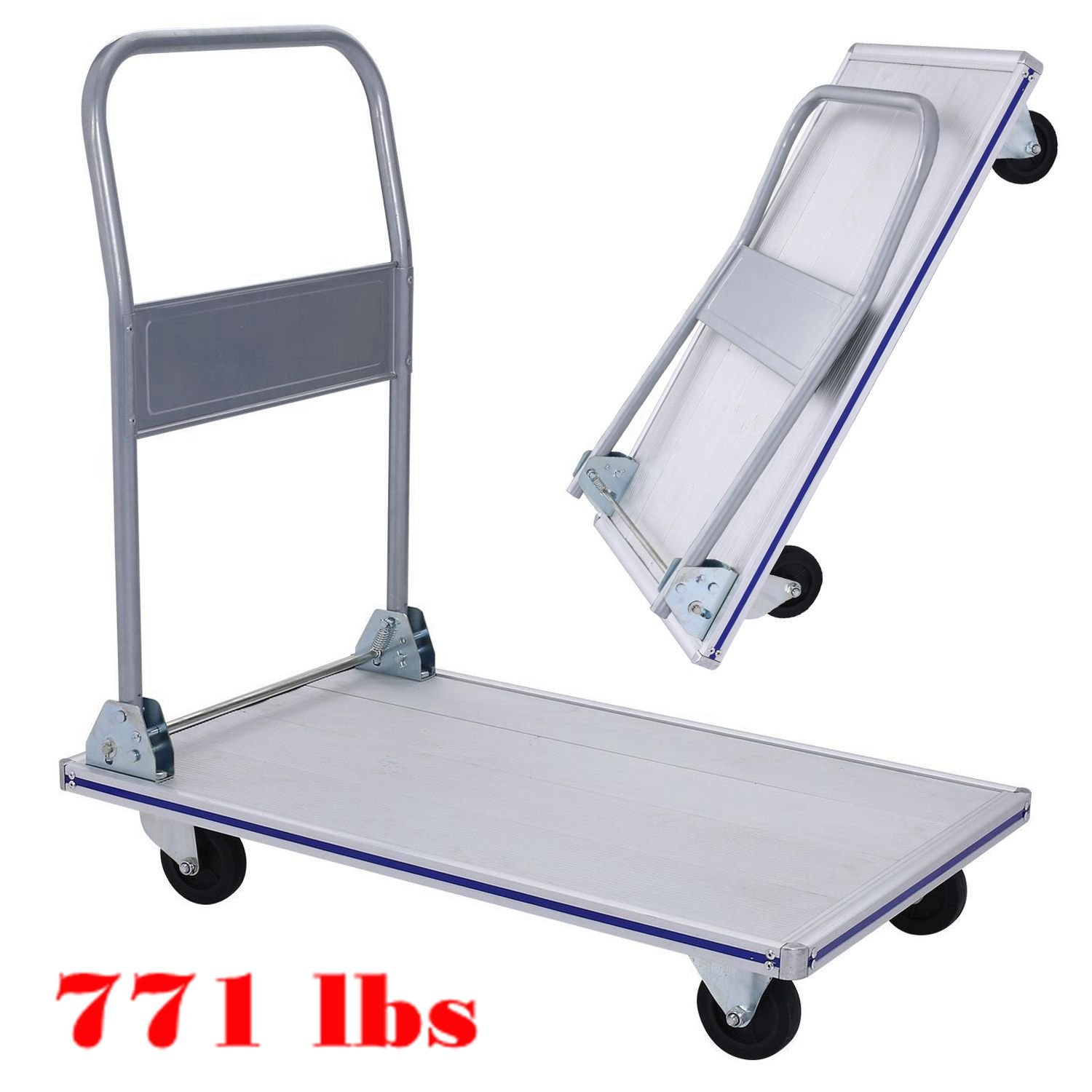 Hindom 771 Lbs Folding Platform Truck, Heavy Duty Flatbed Cart with 4 Wheels, Aluminum Push Moving Dolly or Hand Truck – Office or Home Cart (US STOCK)