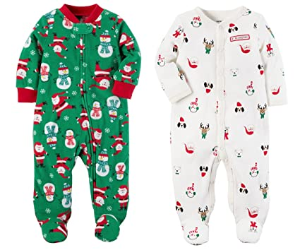carters girls or boys babys first christmas 2 piece santa sleep and play set 3