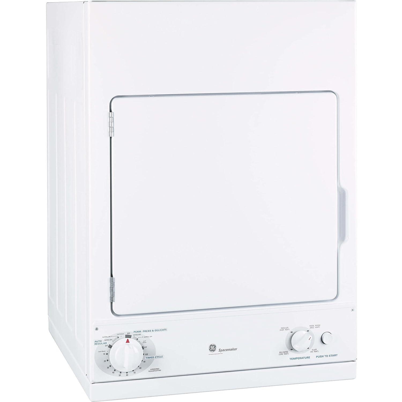 GE DSKS433EBWW Spacemaker 3.6 Cu. Ft. White Stackable Electric Dryer