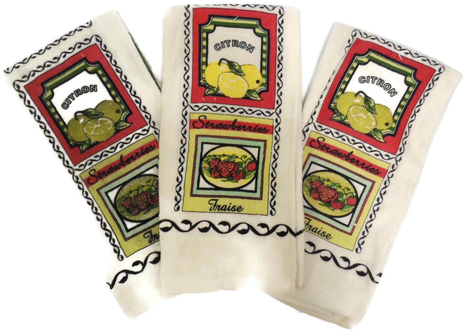 3 Piece Set Everyday Kitchen Linen Dish Towels 100% Cotton (Strawberry Lemon)