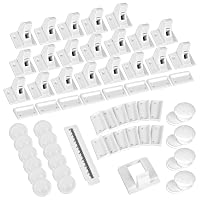 Mum & Cub 20 Pack Magnetic Child Locks for Cabinets and Drawers, Include 20 Magnetic Baby Locks and 4 Keys, Child Proof Safety Latches with 12 Pack Outlet Plug Covers