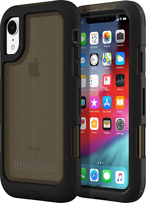 Griffin GIP-004-BLK Survivor Extreme Case for Apple iPhone XR - Black/Transparent