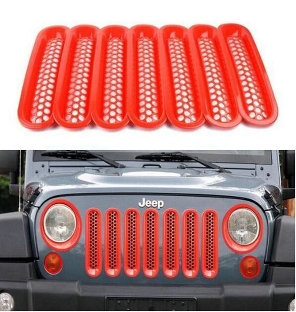 Opall Red Front Grill Mesh Grille Insert Kit For JEEP Wrangler JK Sahara Sport Rubicon Unlimited X X-S Mountain Islander Wilys Wheeler Polar Freedom 2007 2008 2009 2010 2011 2012 2013 2014 2015 2016 djfgj23365