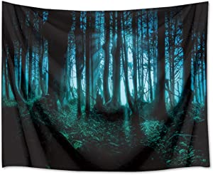 HVEST Haunted Woods Tapestry Ghost Hid Behind The Trees Wall Hanging Scary Forest Tapestries for Bedroom Living Room Dorm Party Decor,60Wx40H inches